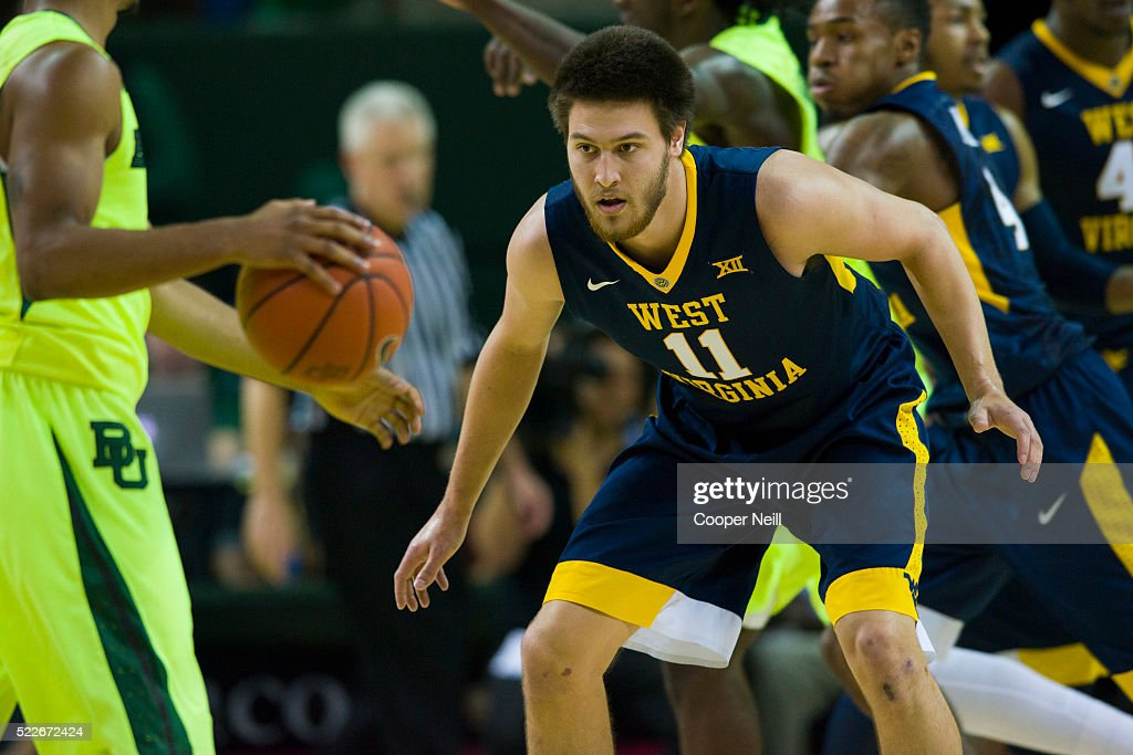 Nathan Adrian of the West Virginia Mountaineers defends against the Baylor Bears on March 5 2016 at the Ferrell Center in Waco Texas