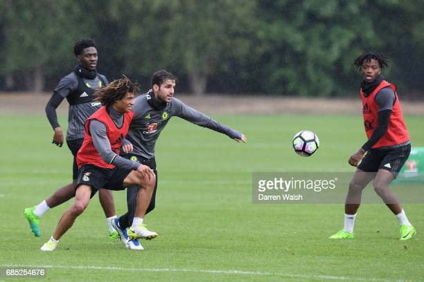 Nathan Ake and Cesc Fabregas of Chelsea during a training session at Chelsea Training Ground on May 19 2017 in Cobham England