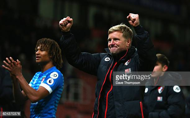 Nathan Ake of AFC Bournemouth and Eddie Howe Manager of AFC Bournemouth celebrate after the final whistle during the Premier League match between...
