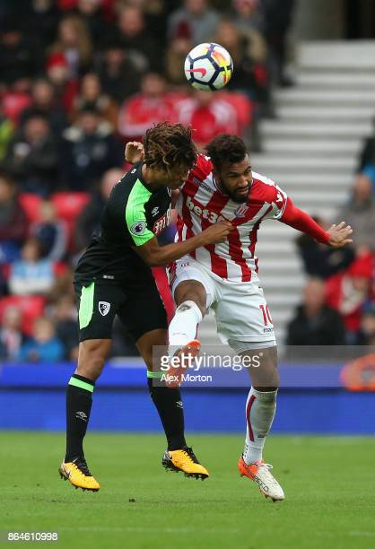 Nathan Ake of AFC Bournemouth and Maxim ChoupoMoting of Stoke City during the Premier League match between Stoke City and AFC Bournemouth at Bet365...