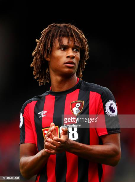 Nathan Ake of AFC Bournemouth applauds a teammate off the pitch during the preseason friendly match between AFC Bournemouth and Valencia CF at...