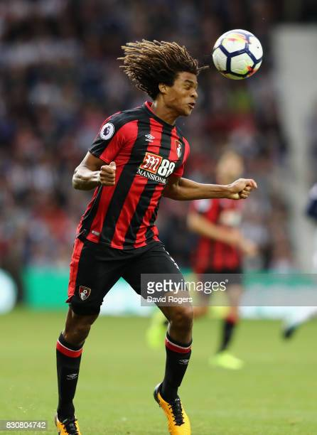 Nathan Ake of Bournemouth heads the ball during the Premier League match between West Bromwich Albion and AFC Bournemouth at The Hawthorns on August...