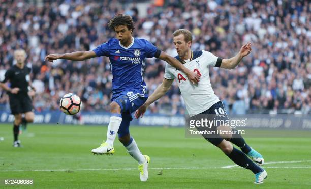 Nathan Ake of Chelsea and Harry Kane of Tottenham during the Emirates FA Cup SemiFinal match between Tottenham Hotspur and Chelsea at Wembley Stadium...