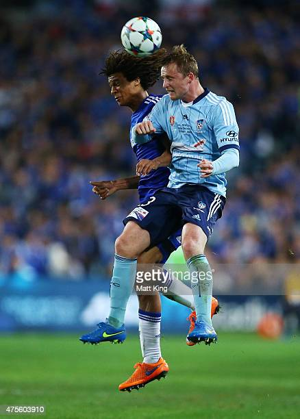 Nathan Ake of Chelsea and Rhyan Grant of Sydney FC competes for the ball during the international friendly match between Sydney FC and Chelsea FC at...