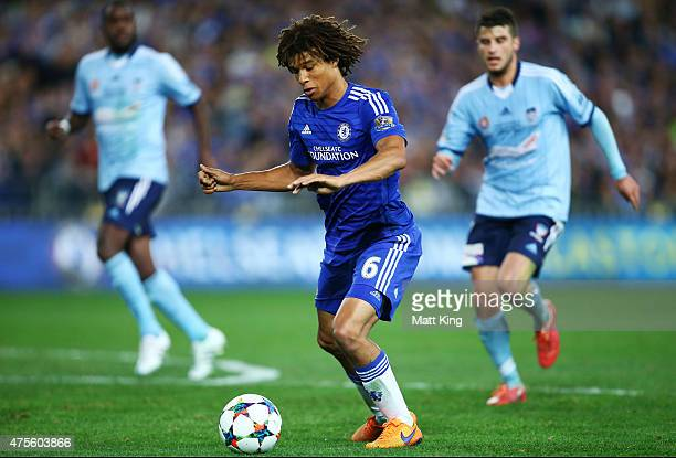 Nathan Ake of Chelsea controls the ball during the international friendly match between Sydney FC and Chelsea FC at ANZ Stadium on June 2 2015 in...