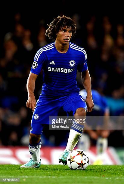 Nathan Ake of Chelsea controls the ball during the UEFA Champions League Group G match between Chelsea FC and NK Maribor at Stamford Bridge on...