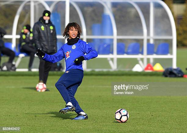Nathan Ake of Chelsea during a training session at Chelsea Training Ground on January 27 2017 in Cobham England