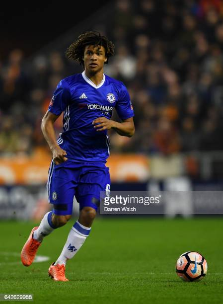 Nathan Ake of Chelsea in action during The Emirates FA Cup Fifth Round match between Wolverhampton Wanderers and Chelsea at Molineux on February 18...