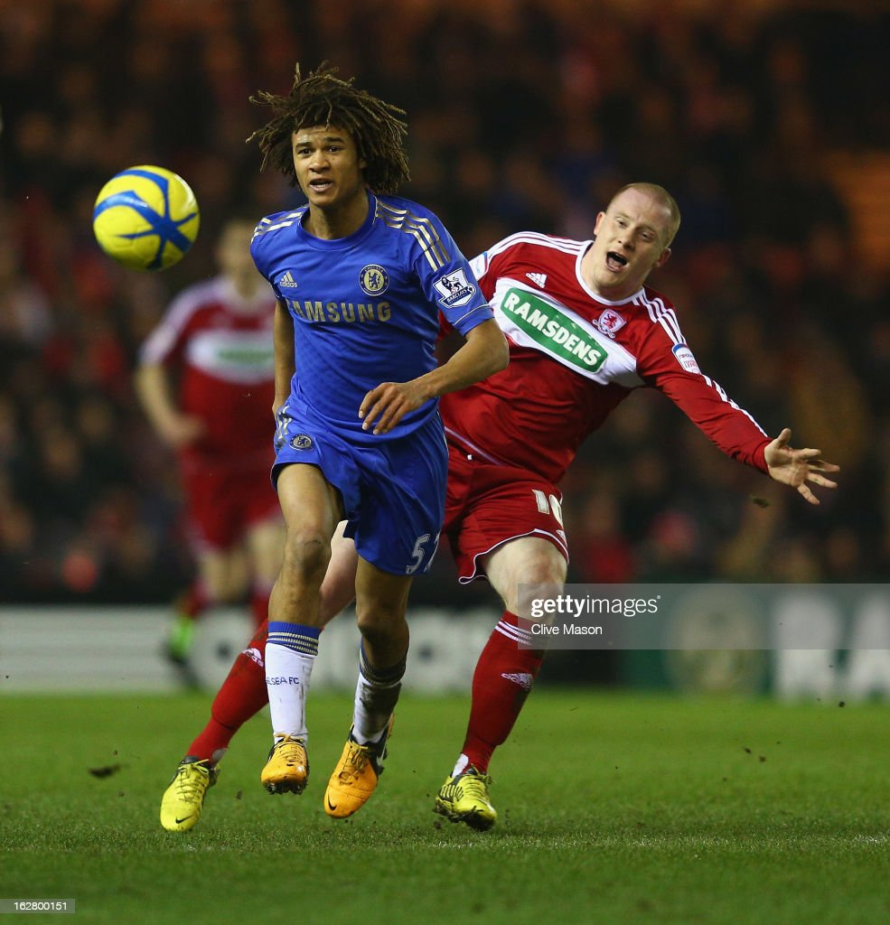 Nathan Ake of Chelsea is tackled by Nicky Bailey of Middlesbrough during the FA Cup with Budweiser Fifth Round match between Middlesbrough and Chelsea at Riverside Stadium on February 27, 2013 in Middlesbrough, England.