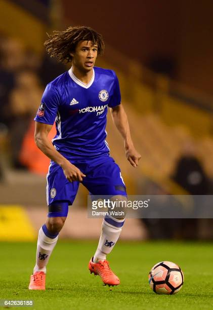 Nathan Ake of Chelsea on the ball during The Emirates FA Cup Fifth Round match between Wolverhampton Wanderers and Chelsea at Molineux on February 18...