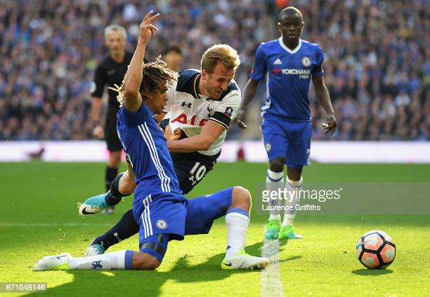Nathan Ake of Chelsea tackles Harry Kane of Tottenham Hotspur during The Emirates FA Cup SemiFinal between Chelsea and Tottenham Hotspur at Wembley...