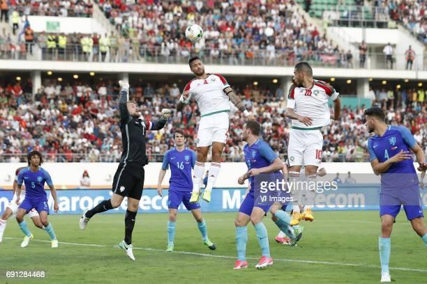 Nathan Ake of Holland goalkeeper Jeroen Zoet of Holland Marten de Roon of Holland Marouane Da Costa of Morocco Vincent Janssen of Holland Aziz...