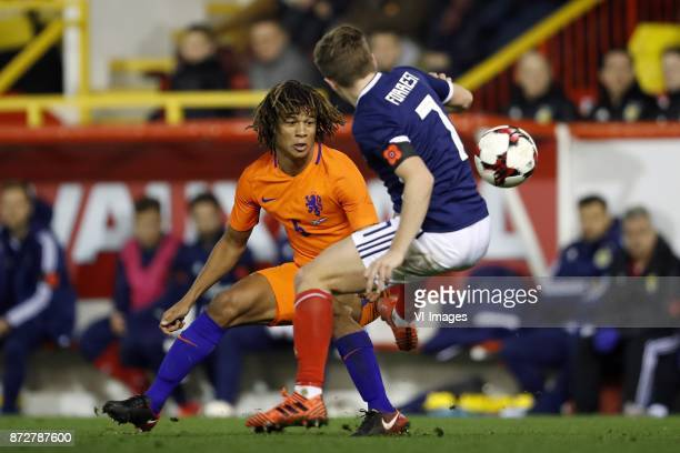 Nathan Ake of Holland James Forrest of Scotland during the friendly match between Scotland and The Netherlands on November 09 2017 at Pittodrie...