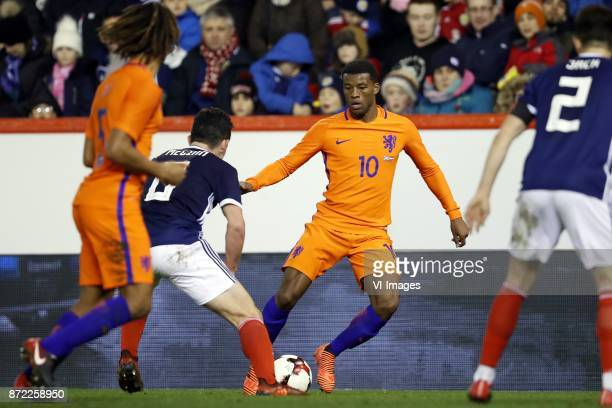 Nathan Ake of Holland John McGinn of Scotland Georginio Wijnaldum of Holland Ryan Jack of Scotland during the friendly match between Scotland and The...