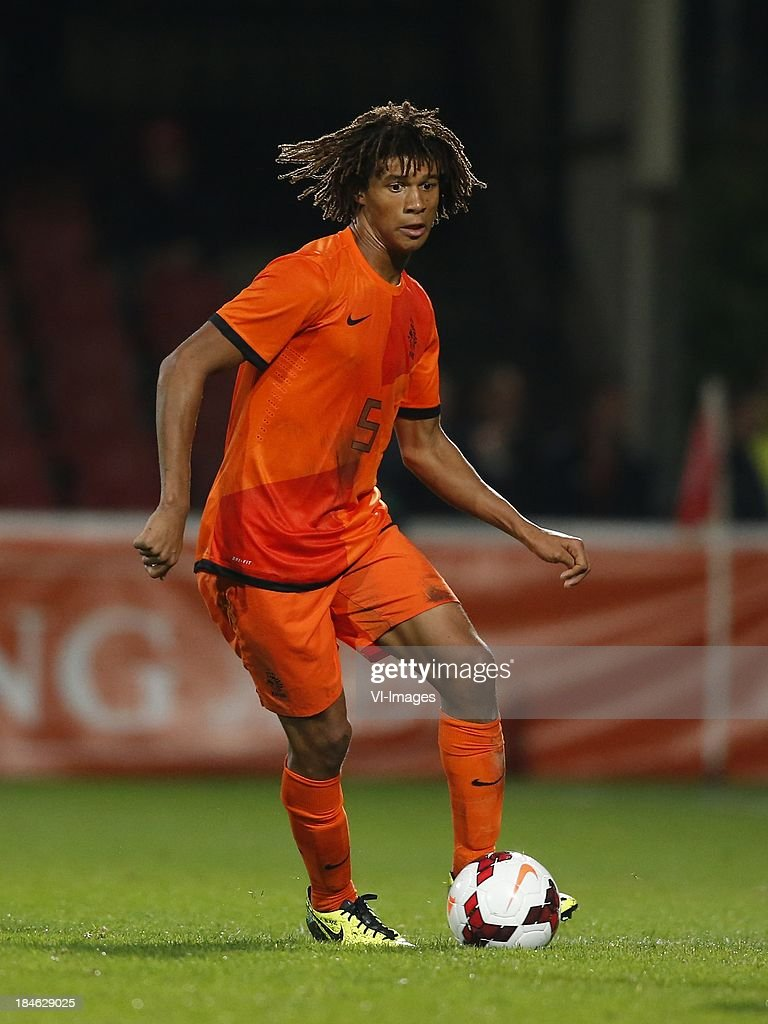 Nathan Ake of Netherlands U21 during 2015 UEFA European U21 Championships Qualifier match between the Netherlands U21 and Austria U21 at the Adelaarshorst on Oktober 14, 2013 in Deventer, The Netherlands