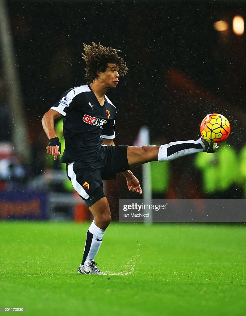 Nathan Ake of Watford controls the ball during the Barclays Premier League match between Sunderland and Watford at The Stadium of Light on December 12, 2015 in Sunderland, England.