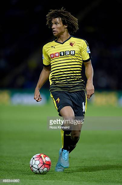 Nathan Ake of Watford during the Barclays Premier League match between Watford and Arsenal at Vicarage Road on October 17 2015 in Watford England