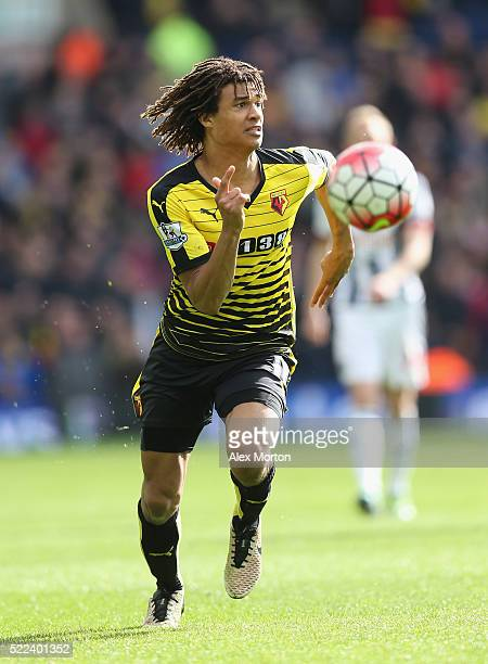 Nathan Ake of Watford during the Barclays Premier League match between West Bromwich Albion and Watford at The Hawthorns on April 16 2016 in West...