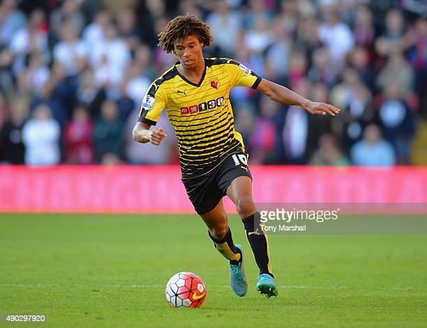 Nathan Ake of Watford in action during the Barclays Premier League match between Watford and Crystal Palace at Vicarage Road on September 27 2015 in...