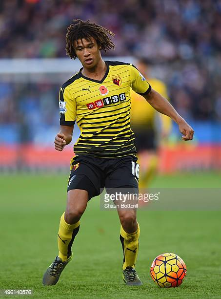 Nathan Ake of Watford in action during the Barclays Premier League match between Leicester City and Watford at The King Power Stadium on November 7...