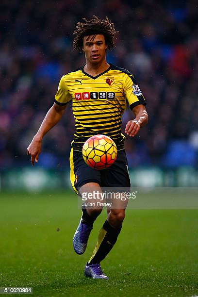 Nathan Ake of Watford in action during the Barclays Premier League match between Crystal Palace and Watford at Selhurst Park on February 13 2016 in...