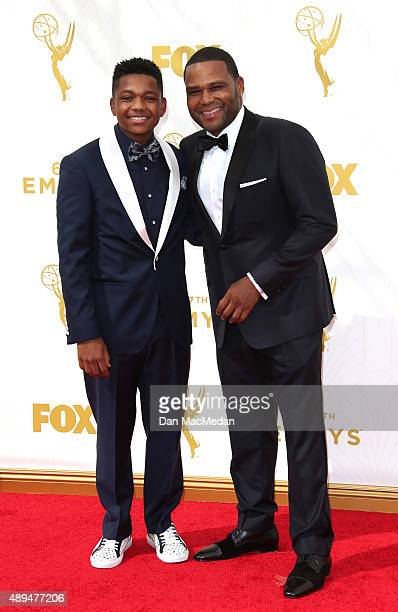 Nathan Anderson and actor Anthony Anderson arrive at the 67th Annual Primetime Emmy Awards at the Microsoft Theater on September 20 2015 in Los...