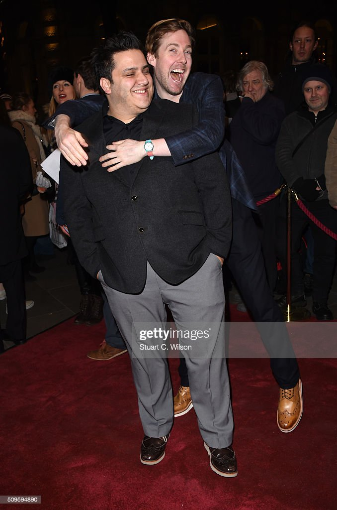 Nathan Azmi and Ricky Wilson attend the World Premiere of 'End Of Longing', written by and starring Matthew Perry at Playhouse Theatre on February 11, 2016 in London, England.