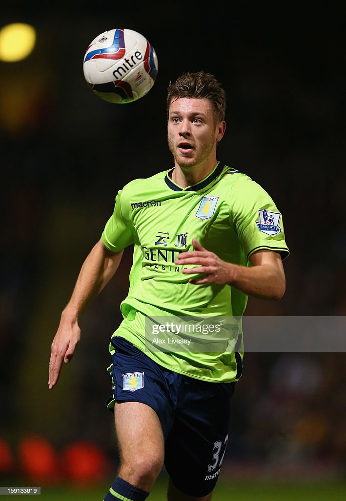 Nathan Baker of Aston Villa chases the ball during the Capital One Cup Semi-Final 1st Leg match between Bradford City and Aston Villa at Coral Windows Stadium, Valley Parade on January 8, 2013 in Bradford, England.