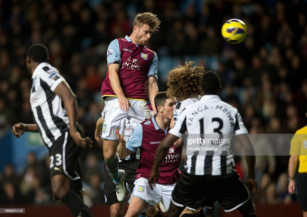Nathan Baker of Aston Villa during the Barclays Premier League match between Aston Villa and Newcastle United at Villa Park on January 29, 2013 in Birmingham, England.