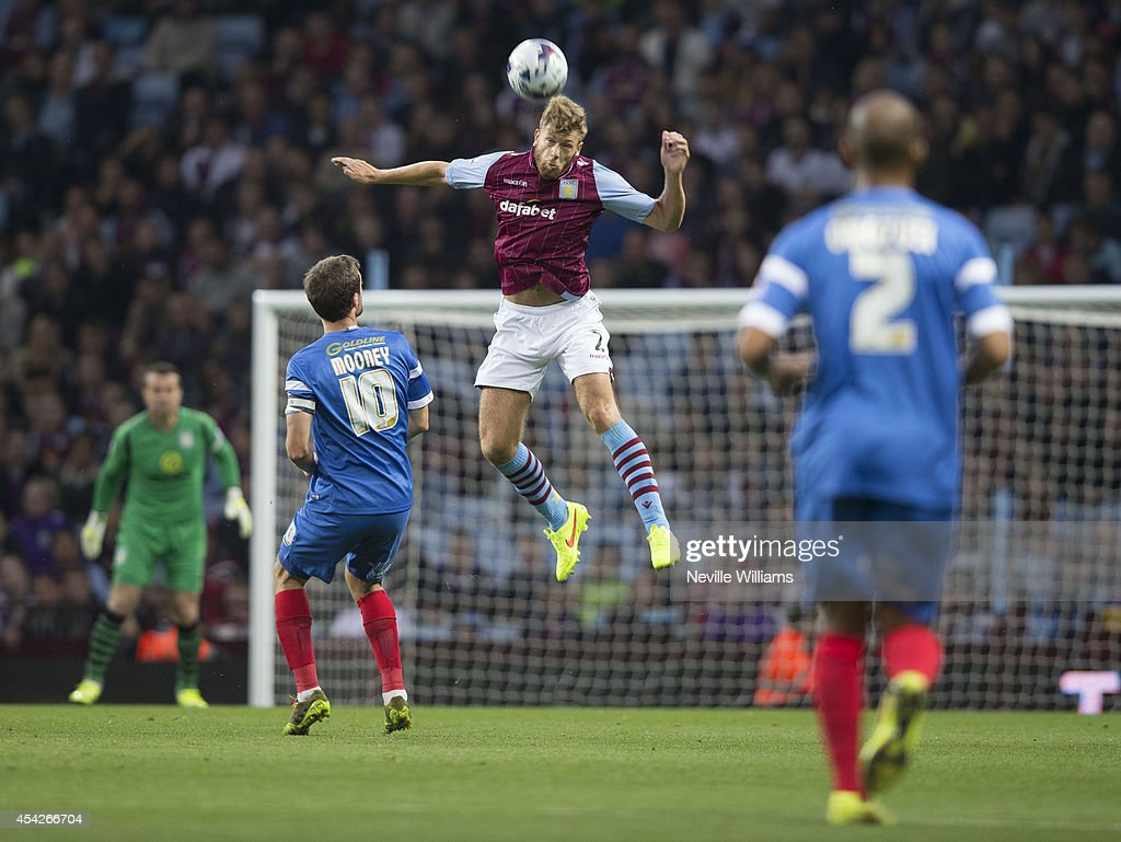 Nathan Baker of Aston Villa during the Capital One Cup second round match between Aston Villa and Leyton Orient at Villa Park on August 27, 2014 in Birmingham, England.