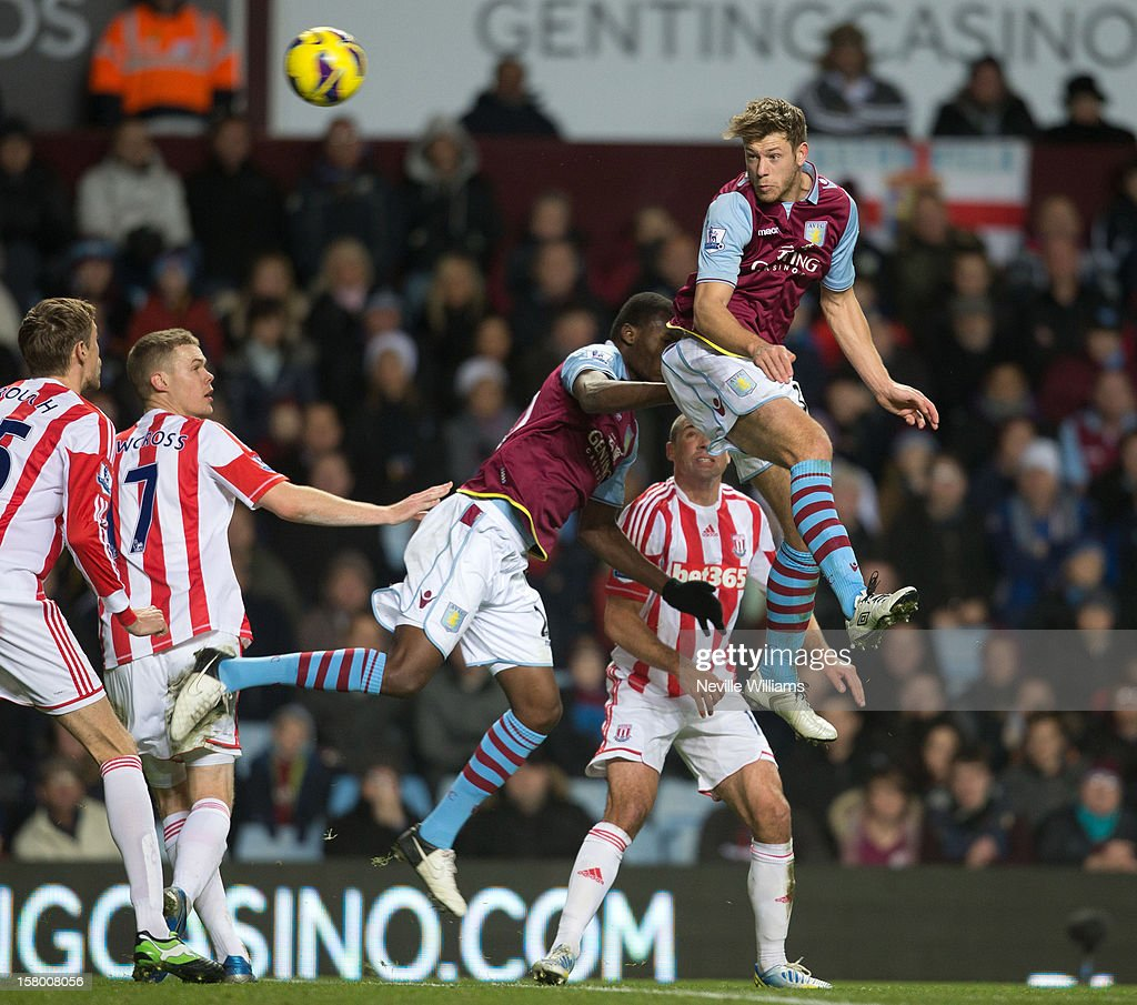 Nathan Baker of Aston Villa jumps for a header during the Barclays Premier League match between Aston Villa and Stoke City at Villa Park on December 08, 2012 in Birmingham, England.