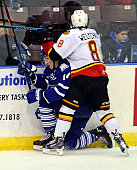 Nathan Bastian of the Mississauga Steelheads is hit by Brett Welychka of the Belleville Bulls during the OHL game on January 16 2015 at the Hershey...