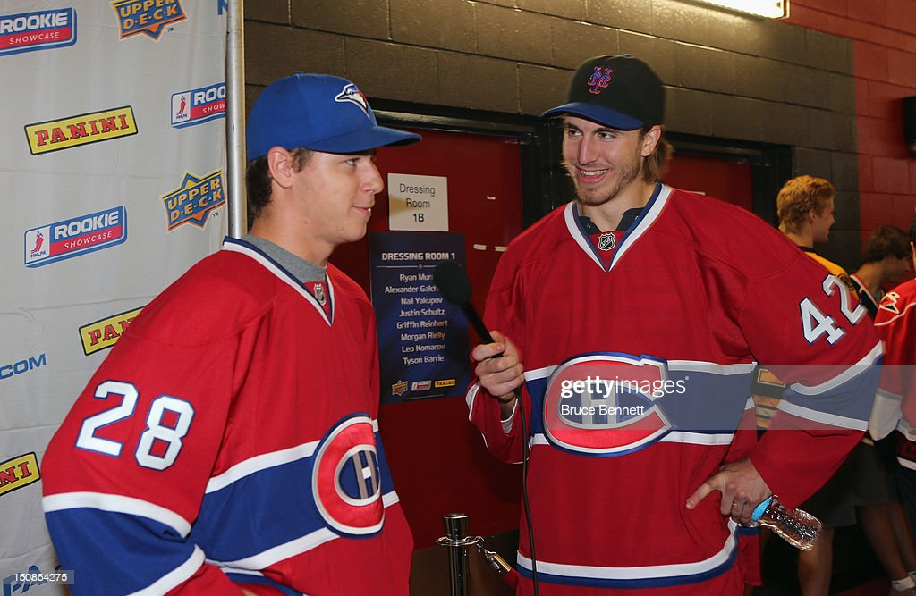 Nathan Beaulieu and Jarred Tinordi of the Montreal Canadiens meet with the media at the 2012 NHLPA rookie showcase at the MasterCard Centre on August 28, 2012 in Toronto, Canada.