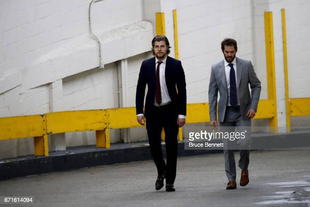Nathan Beaulieu and Torrey Mitchell of the Montreal Canadiens prior to Game Six against the New York Rangers in the Eastern Conference First Round...