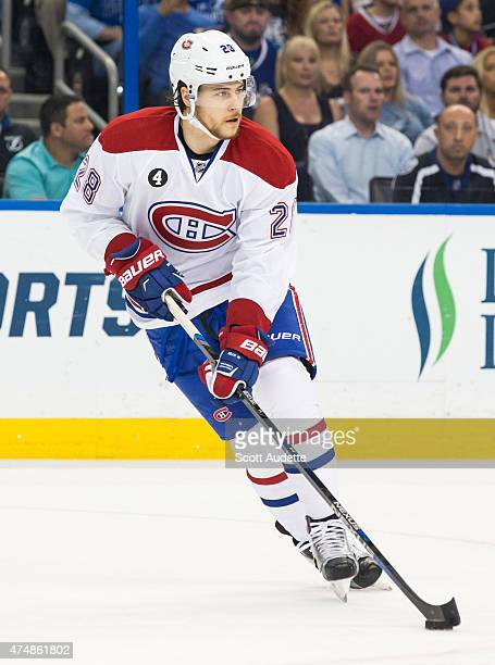 Nathan Beaulieu of the Montreal Canadiens against the Tampa Bay Lightning in Game Six of the Eastern Conference Semifinals during the 2015 NHL...
