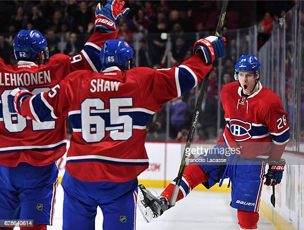 Nathan Beaulieu of the Montreal Canadiens celebrates a goal against the New Jersey Devils in the NHL game at the Bell Centre on December 8 2016 in...