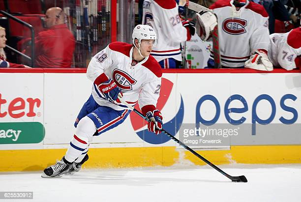Nathan Beaulieu of the Montreal Canadiens controls the puck on the ice during an NHL game against the Carolina Hurricanes on November 18 2016 at PNC...