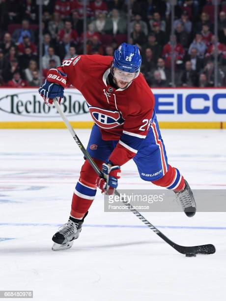 Nathan Beaulieu of the Montreal Canadiens directs the puck away from the net the New York Rangers in Game One of the Eastern Conference Quarterfinals...
