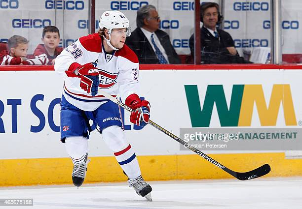 Nathan Beaulieu of the Montreal Canadiens in action during the NHL game against the Arizona Coyotes at Gila River Arena on March 7 2015 in Glendale...