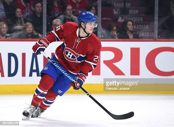 Nathan Beaulieu of the Montreal Canadiens skates against the Los Angeles Kings in the NHL game at the Bell Centre on December 17 2015 in Montreal...