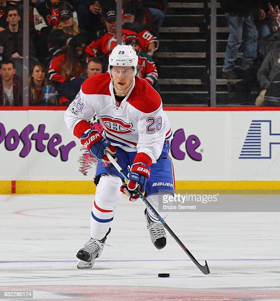Nathan Beaulieu of the Montreal Canadiens skates against the New Jersey Devils at the Prudential Center on January 20 2017 in Newark New Jersey The...