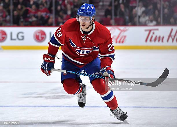 Nathan Beaulieu of the Montreal Canadiens skates against the San Jose Sharks in the NHL game at the Bell Centre on December 16 2016 in Montreal...