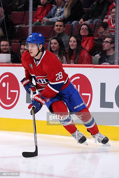 Nathan Beaulieu of the Montreal Canadiens skates during the NHL game against the Carolina Hurricanes at the Bell Centre on March 19 2015 in Montreal...