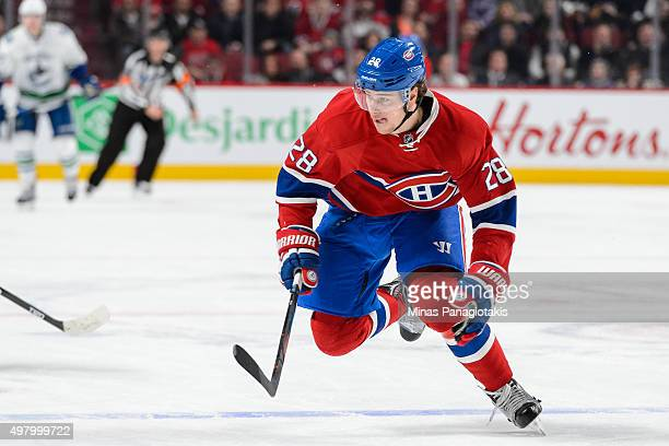 Nathan Beaulieu of the Montreal Canadiens skates during the NHL game against the Vancouver Canucks at the Bell Centre on November 16 2015 in Montreal...