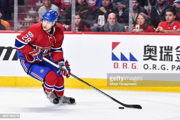 Nathan Beaulieu of the Montreal Canadiens skates the puck against the New York Rangers in Game Two of the Eastern Conference First Round during the...