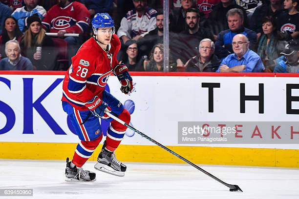 Nathan Beaulieu of the Montreal Canadiens skates the puck during the NHL game against the Pittsburgh Penguins at the Bell Centre on January 18 2017...