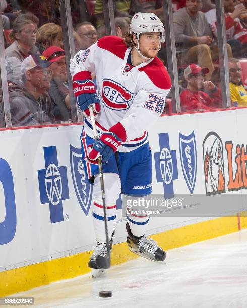 Nathan Beaulieu of the Montreal Canadiens skates up ice against the Detroit Red Wings during an NHL game at Joe Louis Arena on April 8 2017 in...