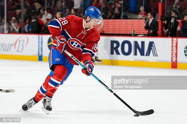 Nathan Beaulieu of the Montreal Canadiens skates with the puck during the warmup prior to the NHL game against the Ottawa Senators at the Bell Centre...