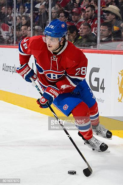 Nathan Beaulieu of the Montreal Canadiens skates with the puck during the NHL game against the Ottawa Senators at the Bell Centre on December 12 2015...