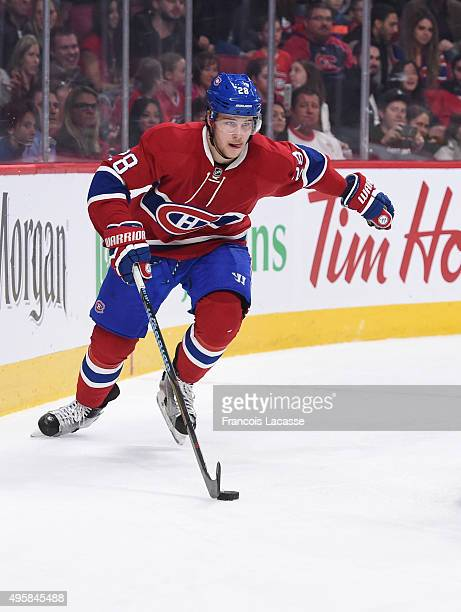 Nathan Beaulieu of the Montreal Canadiens skates with the puck against the Winnipeg Jets in the NHL game at the Bell Centre on November 1 2015 in...